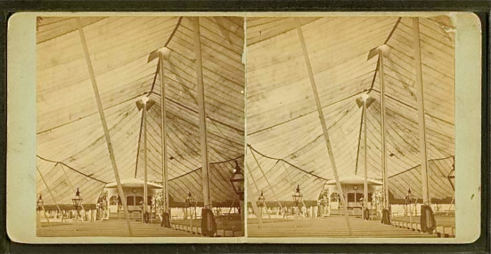 Supporting the Big Tent.  Joseph Warren, Photographer.  Sourced from NYPL Digital Gallery.