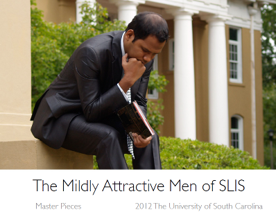 The Thinker from the cover of the Mildly Attractive Men of SLIS