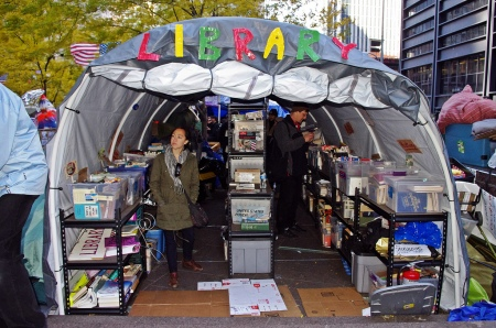 The NYC OWS library in Liberty Square