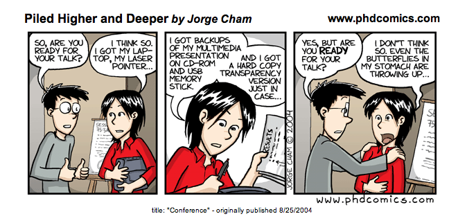 Screenshot of comic about conference presentations