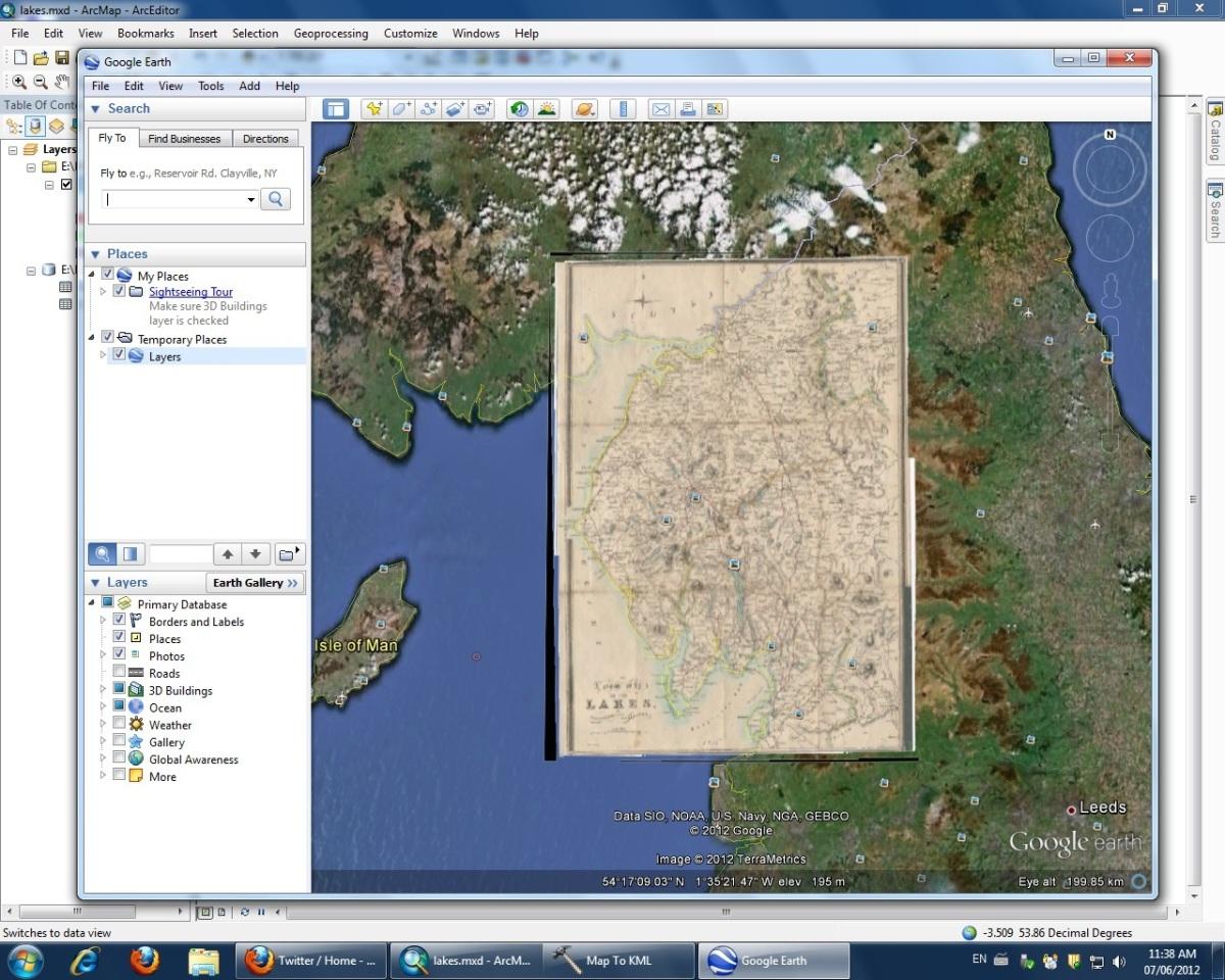 Screenshot of Google Earth map