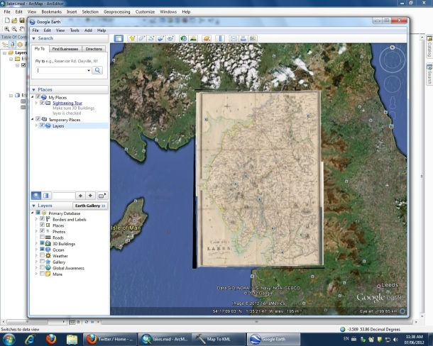 Screenshot of Google Earth map