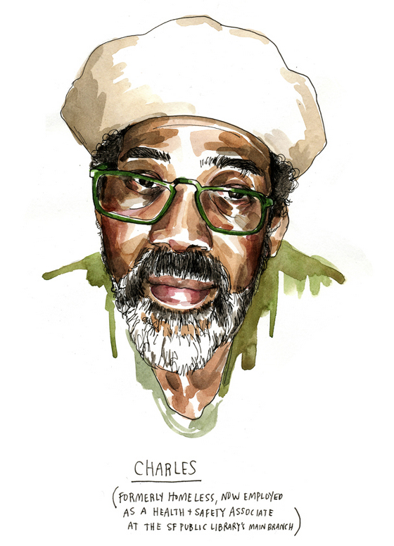 Charles was formerly homeless and made use of San Francisco's Public Library.