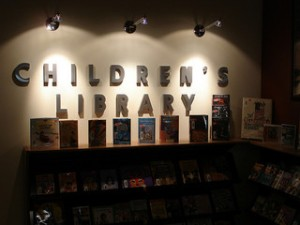 "Photo of sign that reads, ""Children's Library."""