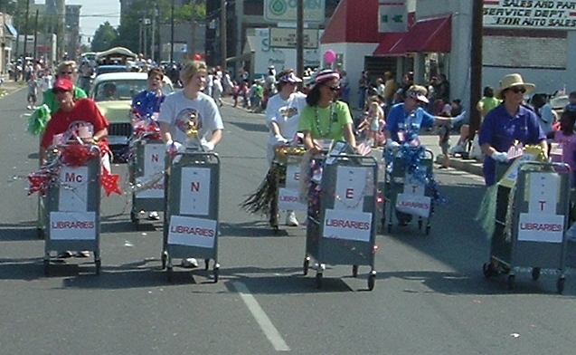 McNet Libraries participated in the 2004 Labor Day Parade in Paducah, KY. McNet is a consortium of libraries organzied to provide the residents of McCracken County equal access to the highest quality of information possible.