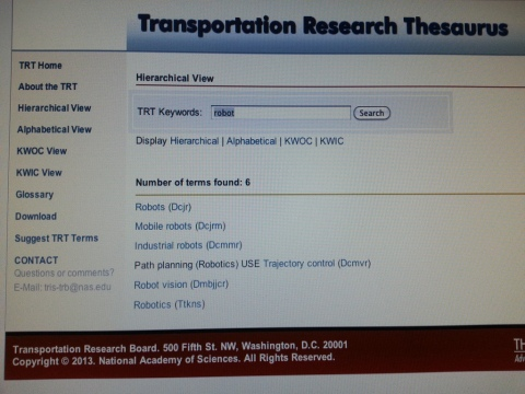 Transportation Research Thesaurus