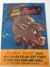 Awesome USDA poster, raising awareness about the damage livestock insects cause. (courtesy National Agricultural Library Special Collections)