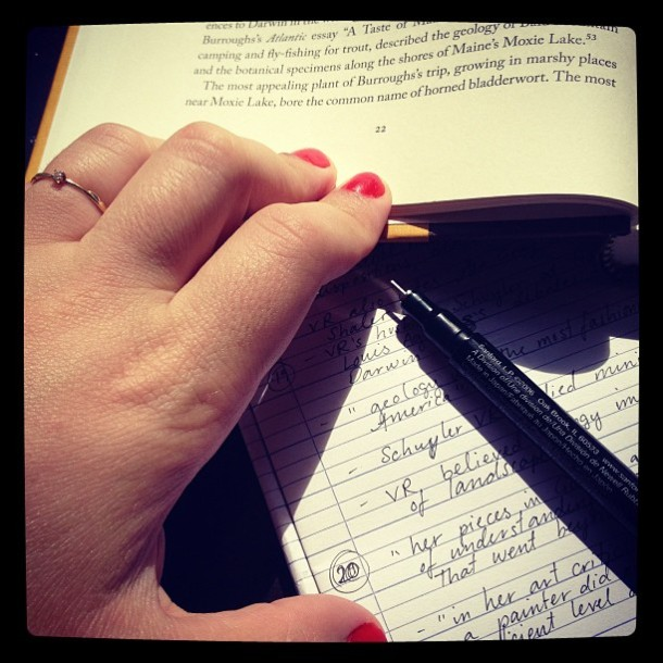 Don't let your enthusiasm for the topic and your mad note-taking skills get the better of you! From the author's Instagram, http://instagram.com/p/cJuIGqrZ2z/ (c) Anna-Sophia Zingarelli-Sweet.