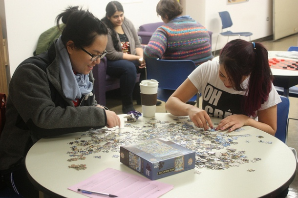 After all, you don't buy a jigsaw puzzle because you want to know what the picture looks like. University at Buffalo students at Lockwood Library Fall 2013 Stress Relief Days, used with a Creative Commons 2.0 license.