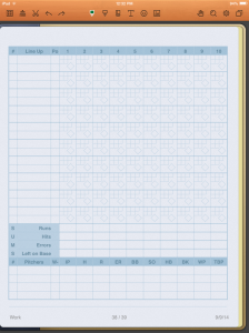 screenshot of baseball scorecard