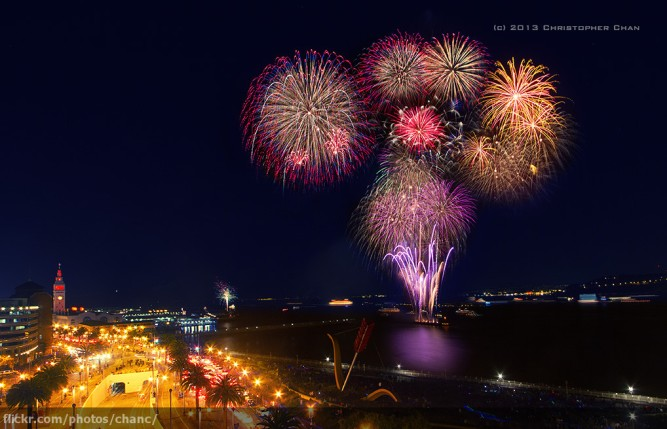 Image of fireworks at night in the San Francisco Bay 2013