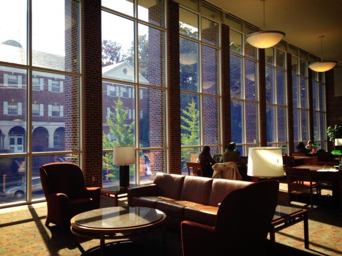 Image of library reading room with big windows