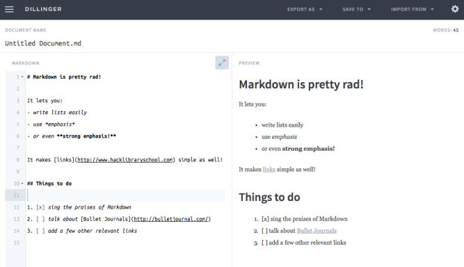 Screencap with examples of Markdown syntax