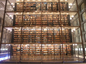 View of Beinecke Rare Book Library's Cube of Books. (Source Simon King, CC BY-NC-ND 2.0)