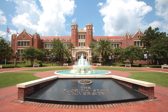FSU entrance with a view of Ruby Diamond Hall courtesy of University Communications