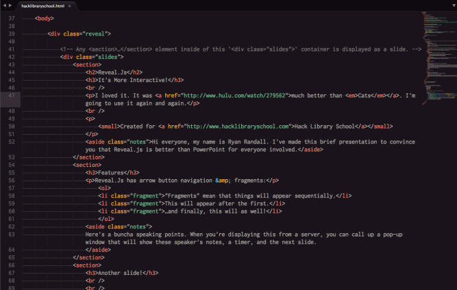 Example image of Reveal.js html code