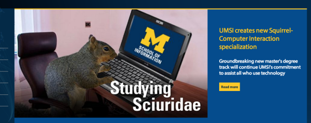 Web banner depicting squirrel at laptop with text UMSI creates new Squirrel-Computer Interaction Specialization