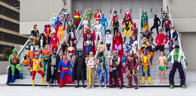 superhero cosplayers at DragonCon