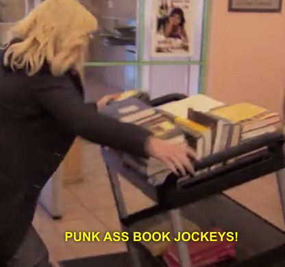 Parks and Recreation, Punk Ass Book Jockeys. http://static.tumblr.com/f17d96b09c97a3f5543458d2548d5b16/wxifjbc/pb1nmmakf/tumblr_static_24i2emjryhr4c0w0cs8kcg0sw.png