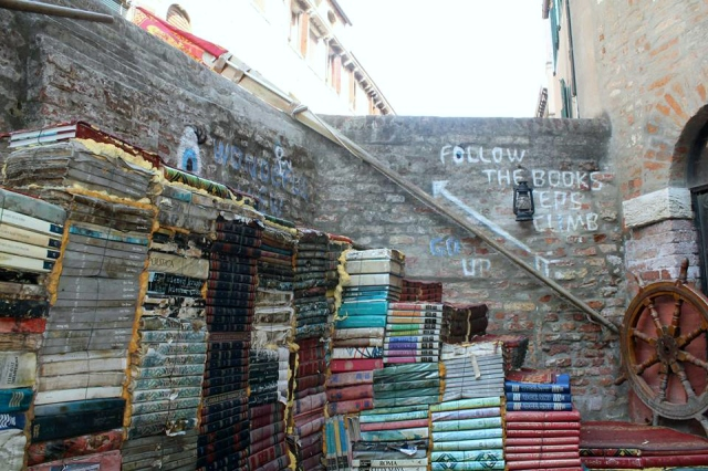 Outdoor stairs made of books with