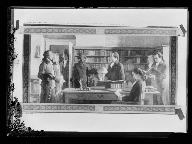 "<a href=""http://www.loc.gov/item/det1994003056/PP/"">Benjamin Franklin opening first subscription library in Philadelphia.</a> Photograph of a painting by Charles E. Mills. Detroit Publishing Company Photograph Collection, Library of Congress Prints and Photographs Division Washington, D.C."