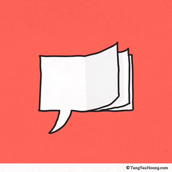 cartoon speech bubble that also looks like pages from a book