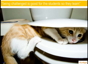 Presentation slide with image of cat with its head stuck in toilet