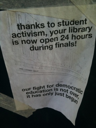 thanks to student activism sign
