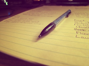 Photo of a pencil on a to do list