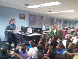 Teaching the students about how the Internet work when we received a new ethernet switch box.