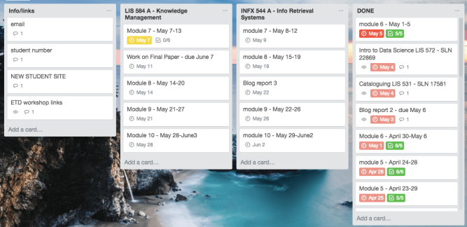 "This sample Trello board shows four columns: Info/links (for helpful reminders and resources), a class on knowledge management (with modules, assignments, and due dates listed underneath), another class on information retrieval systems, and a ""done"" column where completed cards are moved."