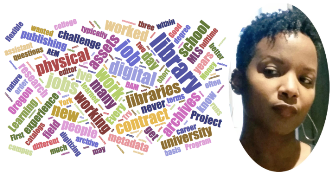 Image shows a headshot of Gina Murrell along with a wordcloud of words from her interview.